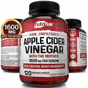 Apple Cider Vinegar Capsules with Mother 1600mg - 120 Vegan ACV Pills