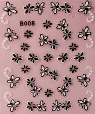 Nail Art 3D Decal Stickers Butterfly & Dragonfly Black & White B008