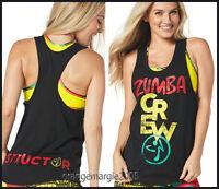 Zumba 2pc.set Instructor Crew Loose Tank,racerback+reversible Let's Jam Bra Top