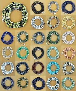 Natural-Tanzanite-Opal-Emerald-Moonstone-Lace-Agate-Round-Faceted-Beads-Necklace