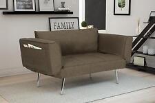 Modern Rich Grey Linen Euro Loveseat Futon Sofa Bed, with Magazine Storage