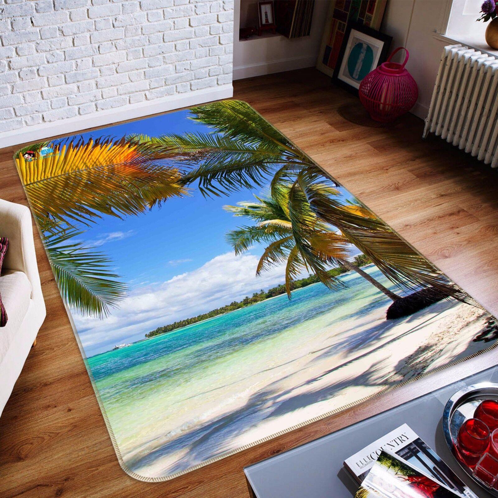 3D Beach Plam View 41 Non Slip Rug Mat Room Mat Quality Elegant Photo Carpet US