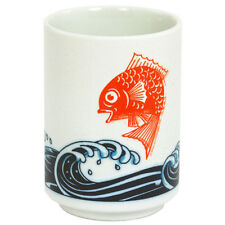 "4""H Porcelain Yunomi Tea Cup Mug AKATAI Lucky Red Carp, Nami Wave/Made Japan"