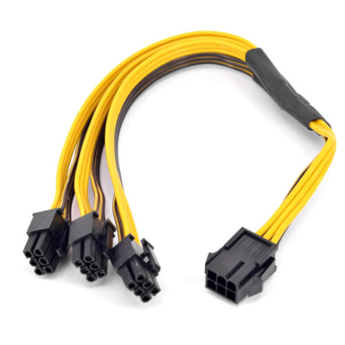 PCI-e 6Pin 1 to 3 Power supply Extension Cable GPU 6 Pin Male to Female Port