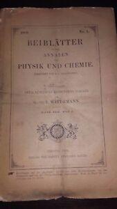 Rivista Beiblatter N° 1 Zu Den Annalen Der Physik Und Chemie 1889 Lipsia Verlag