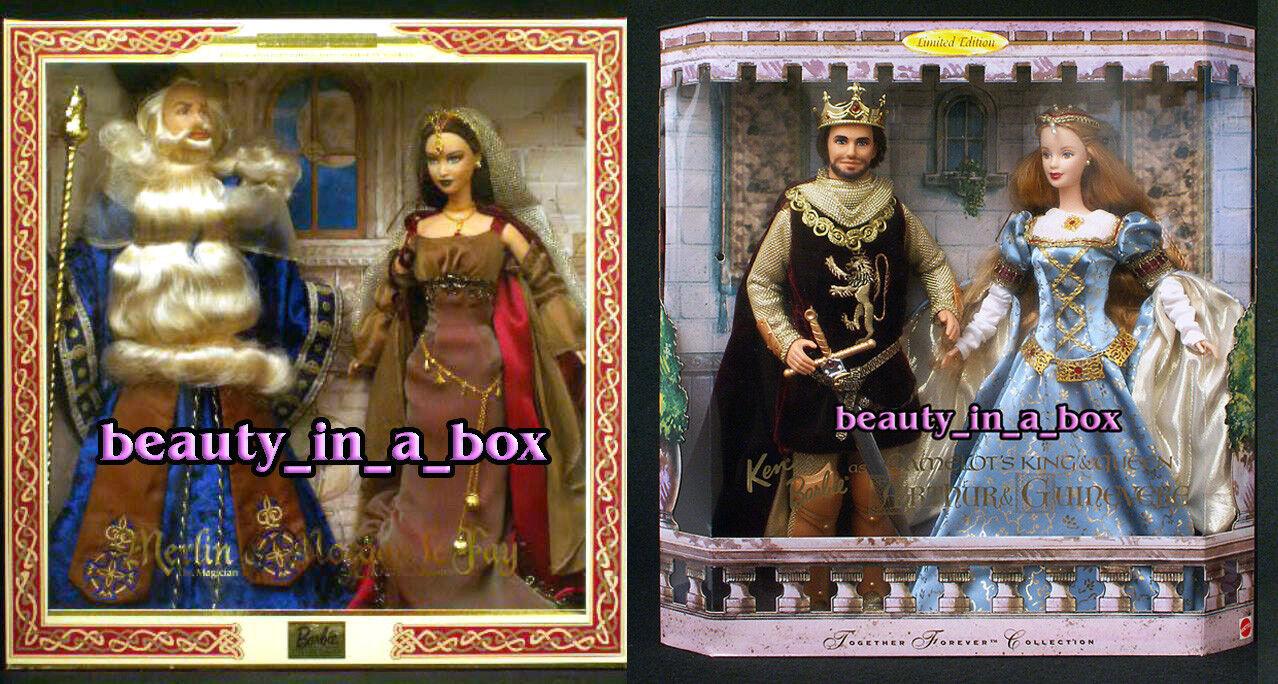 Camelot Muñeca Barbie Arthur Guinevere Merlin Morgan LeFay juntos Conjunto de Regalo Lote 2