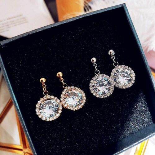 Petit zircon simple métal Plein Strass Boucles d/'oreilles pendantes femme Fashion Jewelry