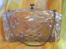 Vtg CLEAR LUCITE CLUTCH HANDBAG CARVED w/RHINESTONE Accent Chain Handle Kisslock