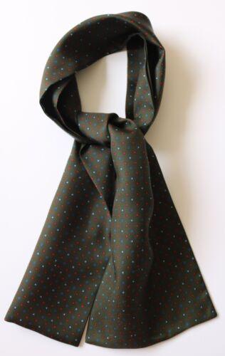 "Green red /& blue dots hand printed silk cravat 39/"" X 6/"""
