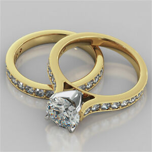 2.62 Ct Round Moissanite Engagement Band Set 18K Solid Yellow Gold Ring Size 4.5