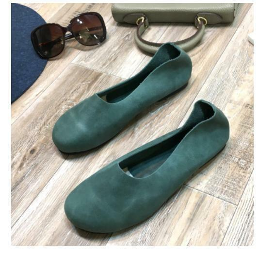 Women Retro Round Toe Leather Slip On Flats Ballet Oxfords Loafers Casual shoes