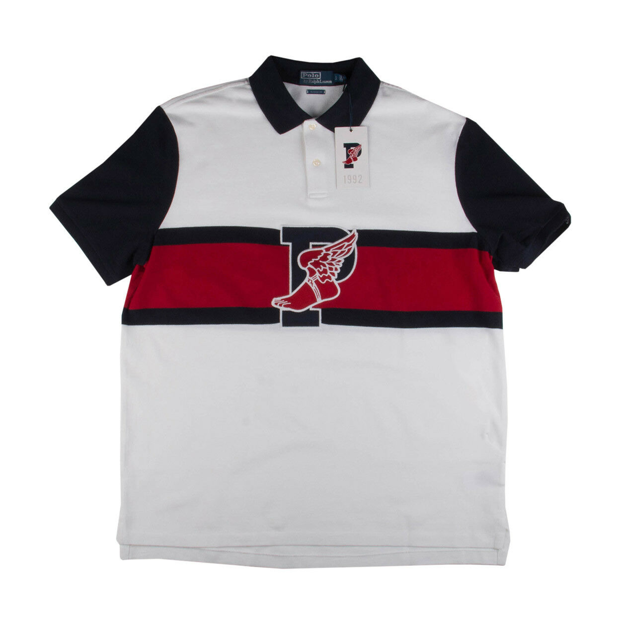 Polo Mens 1992 Stadium Collection P-Wing Classic Polo Red White-bluee