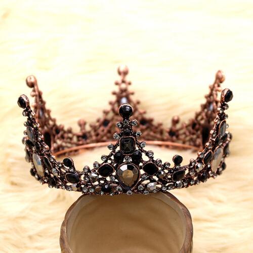 Schwarzer Kristall Geburtstag Krone Tiara Strass Mädchen Hochzeit Haarschmuck