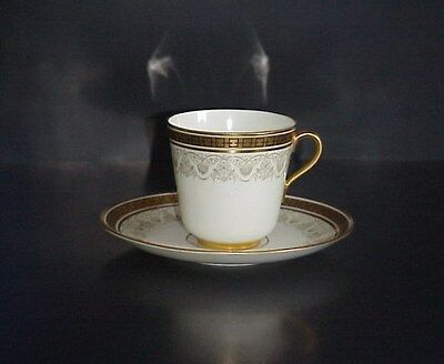 Cauldon Demitasse Cup /& Saucer with Raised Gold Decoration