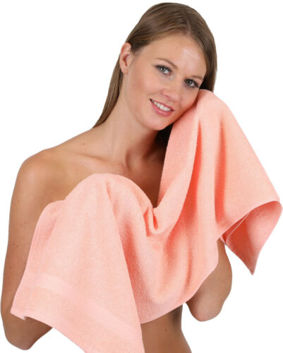 Betz 12er Handtuch Set Handtücher Duschtücher PALERMO 100/%Baumwolle apricot//weiß
