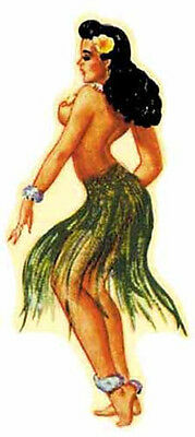 Hula Girl- Hawaii  Vintage-Style Travel Decal/Sticker