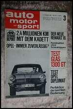 AMS Auto Motor Sport 3/65 Glas 1300 GT Opel Diplomat R16 Opel Kadett
