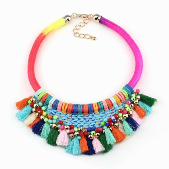 Neon Colorful Rope Chain Handmade Tassel Chunky Bead Chain Statement Necklace
