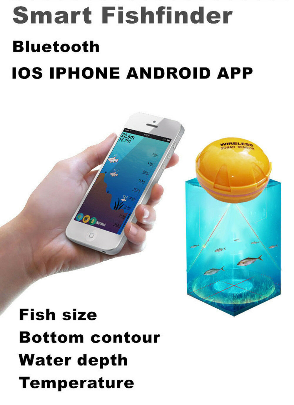 Wireless Sonar Fish Finder BT Sea Lake Fish Detect Detect Detect for iPhone Android Phone df279d