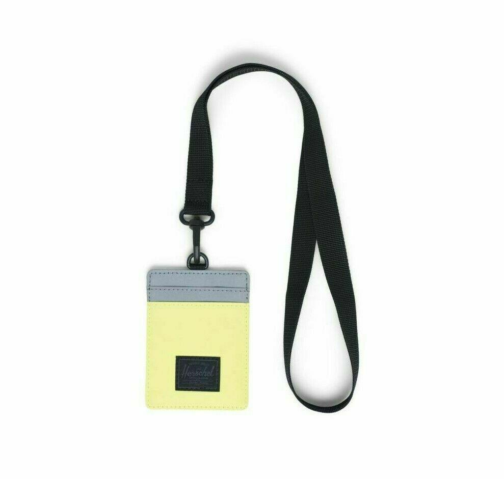Herschel Supply Charlie Wallet Lanyard Key/Card Holder Neon/Silver RFID Blocking