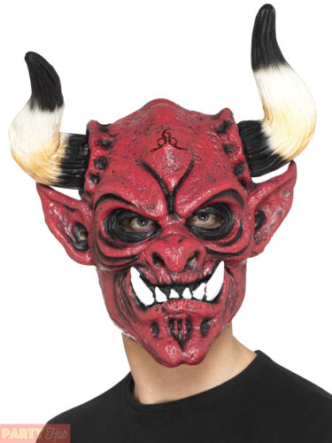 Adults Red Devil Mask Mens Ladies Horror Hell Halloween Fancy Dress Accessory
