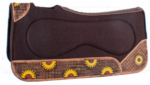 "Showman 32/"" x 31/"" x 1/"" Brown Built Up Felt Saddle Pad with Sunflower Design!"