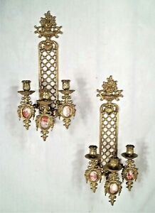 PAIR-OF-MID-CENTURY-ITALIAN-ROCOCO-3-ARM-BRASS-CANDLE-SCONCES-WITH-MARBLE-PANELS