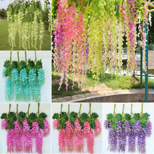 13 Pcs Artificial Flowers Bunch Garland Vine Hanging Fake Wisteria