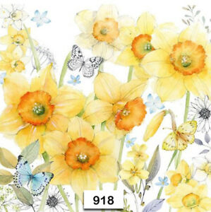 918 Two Individual Paper Luncheon Decoupage Napkin Spring