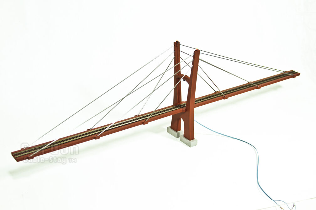 N Scale 30  (400') Cable-Stayed Suspension Bridge with LEDs, Fully Assembled