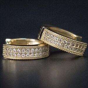Details About Men Women Uni Gold Diamond Hoop Earrings