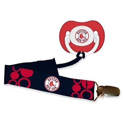 Boston Red Sox Baby Pacifier With Clip New Bpa Free New & Ofiicially Licensed Crease-Resistance
