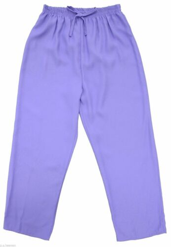 New Ladies Size 12 To 28 Comfort Fit Lilac Trouser Elastic Waist Womens