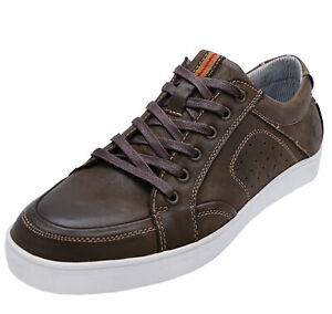 MENS-BROWN-LEATHER-COTSWOLD-LACE-UP-CASUAL-TRAINERS-PUMPS-COMFY-SHOES-UK-10-12