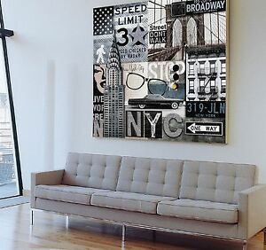xxl vintage leinwand bild 100x100x5 retro broadway new york usa wandbild ikea ebay. Black Bedroom Furniture Sets. Home Design Ideas