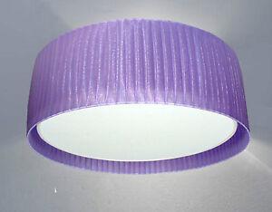 Plafoniera Tessuto : Plafoniera lampadario paralume cilindro in tessuto organza nastrato