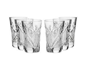 Russian European Cut Crystal Shot Glasses Vodka,Cognac 35 ml //1.2 oz Set of 6
