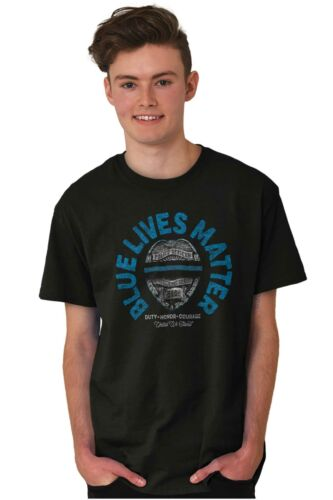 Blue Lives Matter Police Officer Movement Law Short Sleeve T-Shirt Tees Tshirts
