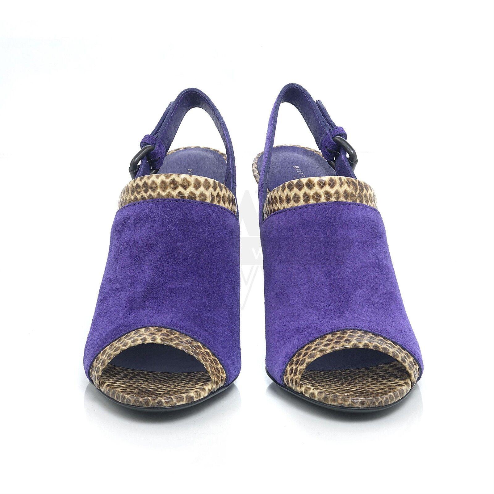 Bottega Veneta 290284 purple Suede & Python Slingback Sandal 7.5 37.5 NIB  950