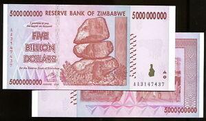 Image Is Loading 5 Billion Zimbabwe Dollar Aa Amp Ab 2008