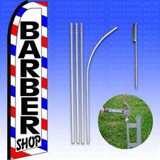 Feather Flag Swooper Advertising Flag Banner Sign 15 Tall Kit Barber Shop Rwb