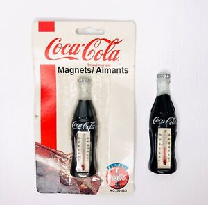 Vintage-1995-Coca-Cola-Bottle-Thermometer-Refrigerator-Magnet-No-10100-Lot-of-2