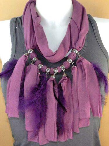 Super foulard sautoir écharpe plume bijoux fantaisie violet tissu polyester neuf