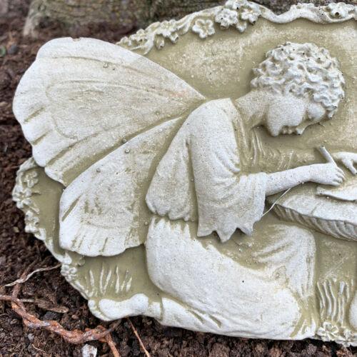Pierre Extérieur Jardin Statue Ornement Sculpture Fée écrit Mural Plaque
