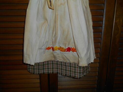 Primitive OLIVE TAN PLAID DRESS w// APRON Autumn Leaves /& Pumpkins Fall Grungy