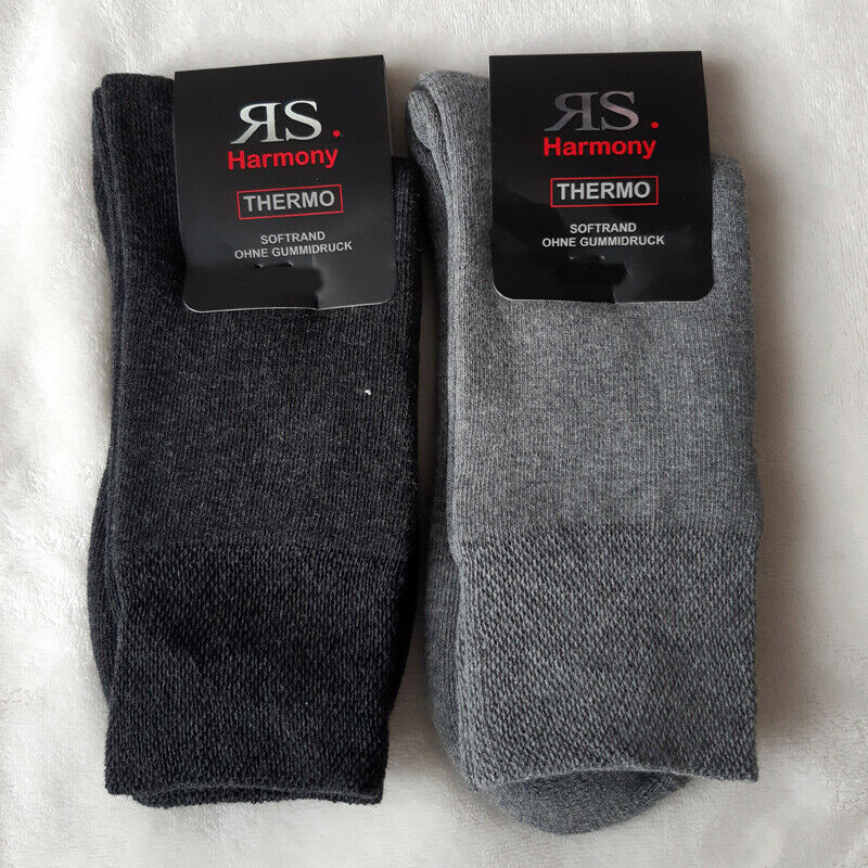 2 Paar Damen Thermo Winter Socken ohne Gummi extra warm hell dunkelgrau 35 - 42