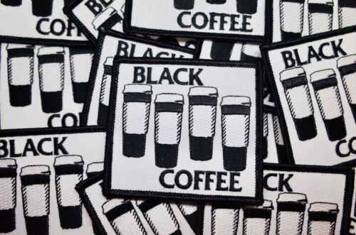 Black Coffee Iron On Patch Punk Hardcore