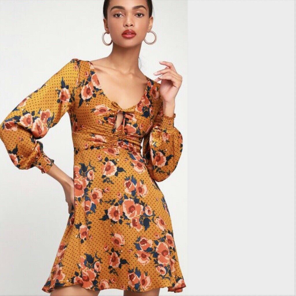 NWT FREE PEOPLE Morning Morning Morning Light Printed Mini Dress Neutral Size 12  128 OB869505 9ac789