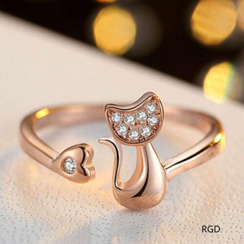 Jewelry Little Cat Cat Shaped Rings Diamond Cute Little Cat Diamond Ring Cat