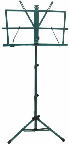New High Quality Adjustable Folding Sheet Music Stand w Carrying Bag-Dark Green